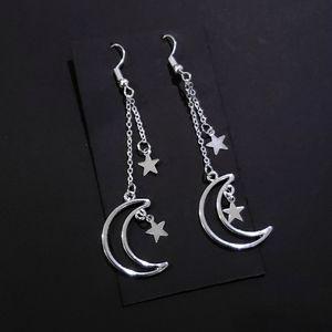 Silver Hollow Moon Star Earrings